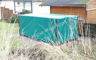 Bisonyl afdekzeil groen aanhangwagenhok