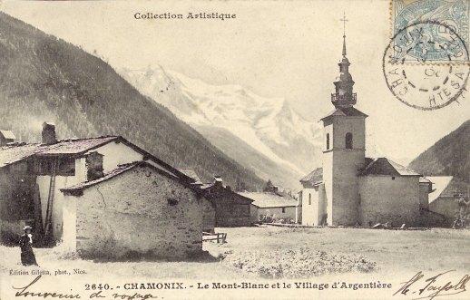 Le Mont-Blanc et le village d'Argentière