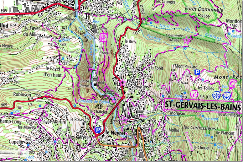 Carte Via ferrata du Parc Thermal