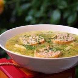 Spargel – Kartoffelsuppe mit Lachsflädle
