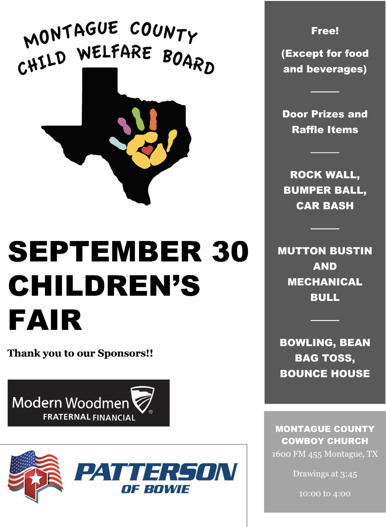 Great Sponsors for our children and our Childrens' Fair