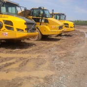 Off Road Trucks waiting to start day-Solar Farm