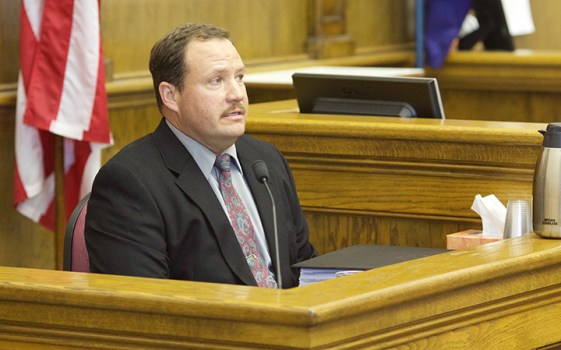 Bozeman Republican Shawn Moran, Art Wittich's 2010 primary opponent, testifies during Wittich's corruption trial. Photo by Kimberly Reed.