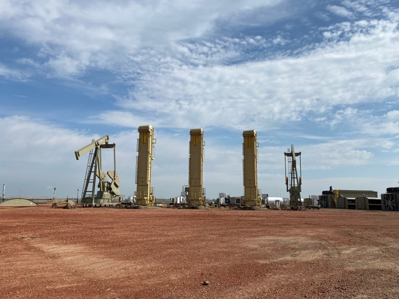 An oil well pad near Sidney, Montana