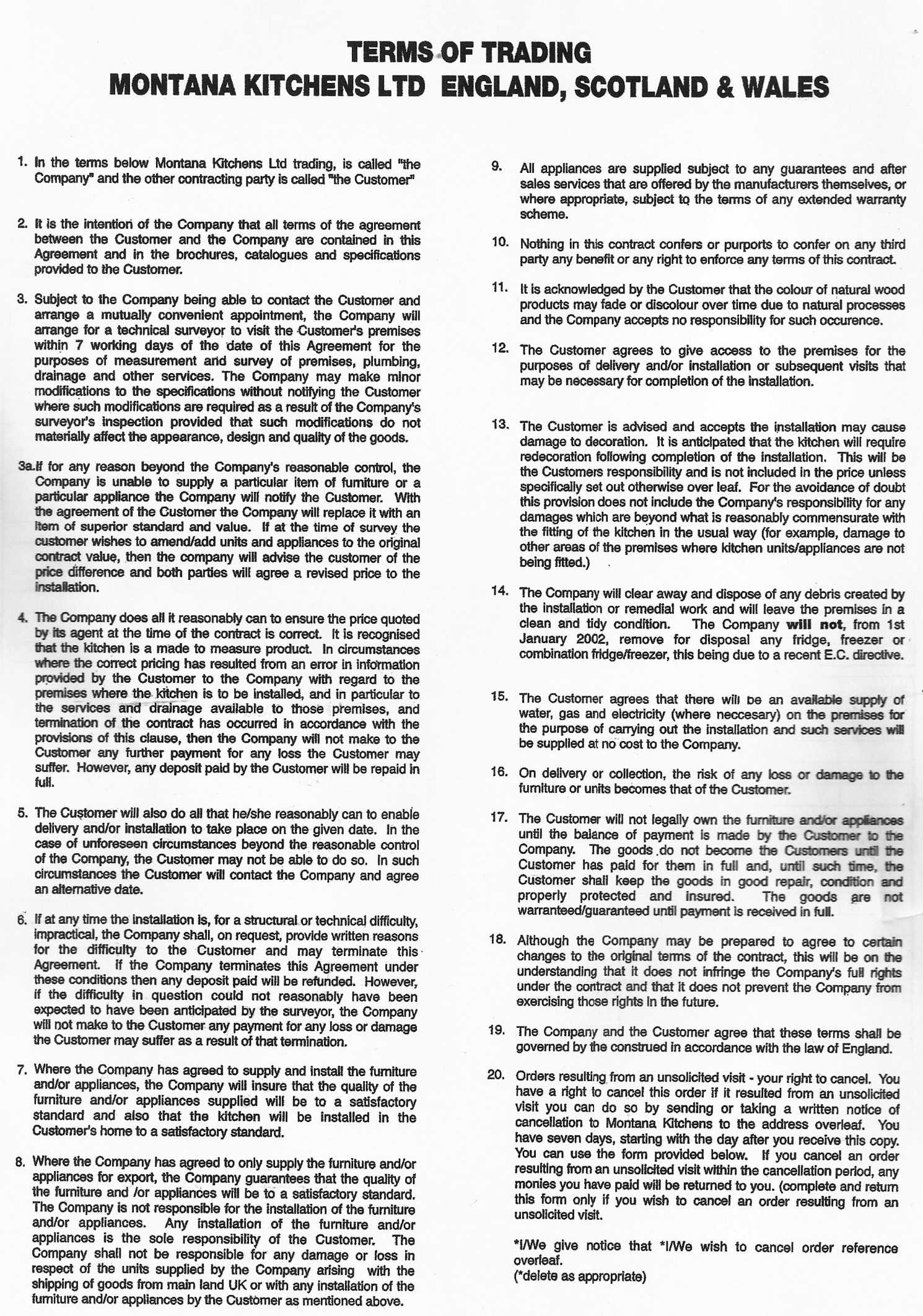 Terms and Conditions  Montana Kitchens