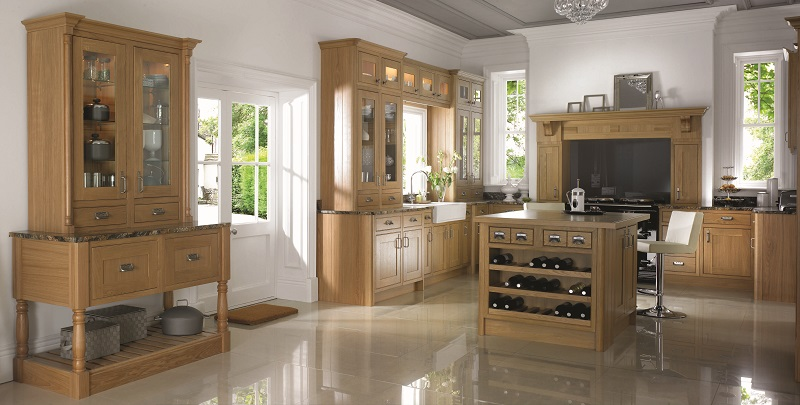 shaker style kitchen, mereway english revival, natural and lancaster oak