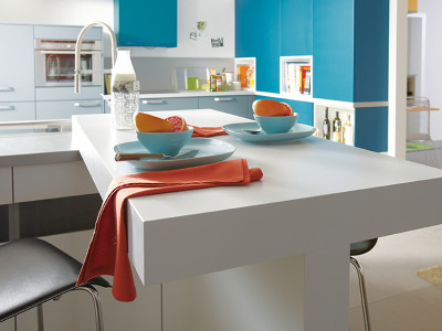 schuller kitchens, white table and blue cabinets