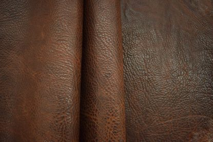 light brown leather, bison leather, buffalo leather, shrunken leather
