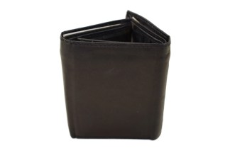 black wallet, leather wallet, trifold wallet