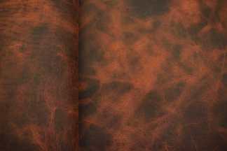Big Sky Bison Leather - Tangerine Close