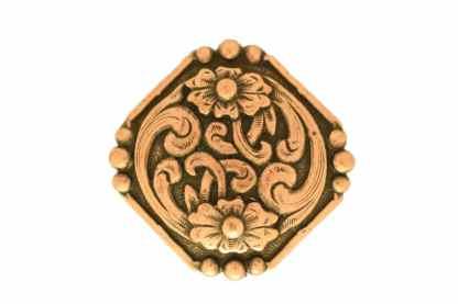 Octagon concho, copper concho, floral concho