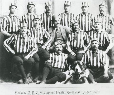 1890 Spokane Baseball Club, champions of the pacific NW League. William H. Colgan seated far right.