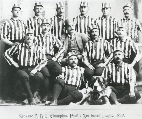 1890 Spokane Baseball Club, champions of the pacific NW League. William H. Colgan seated far right.