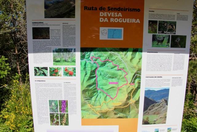 """Senderos de la Devesa da Rogueira (el nuestro es el amarillo, """"Rogueira 2"""")."""