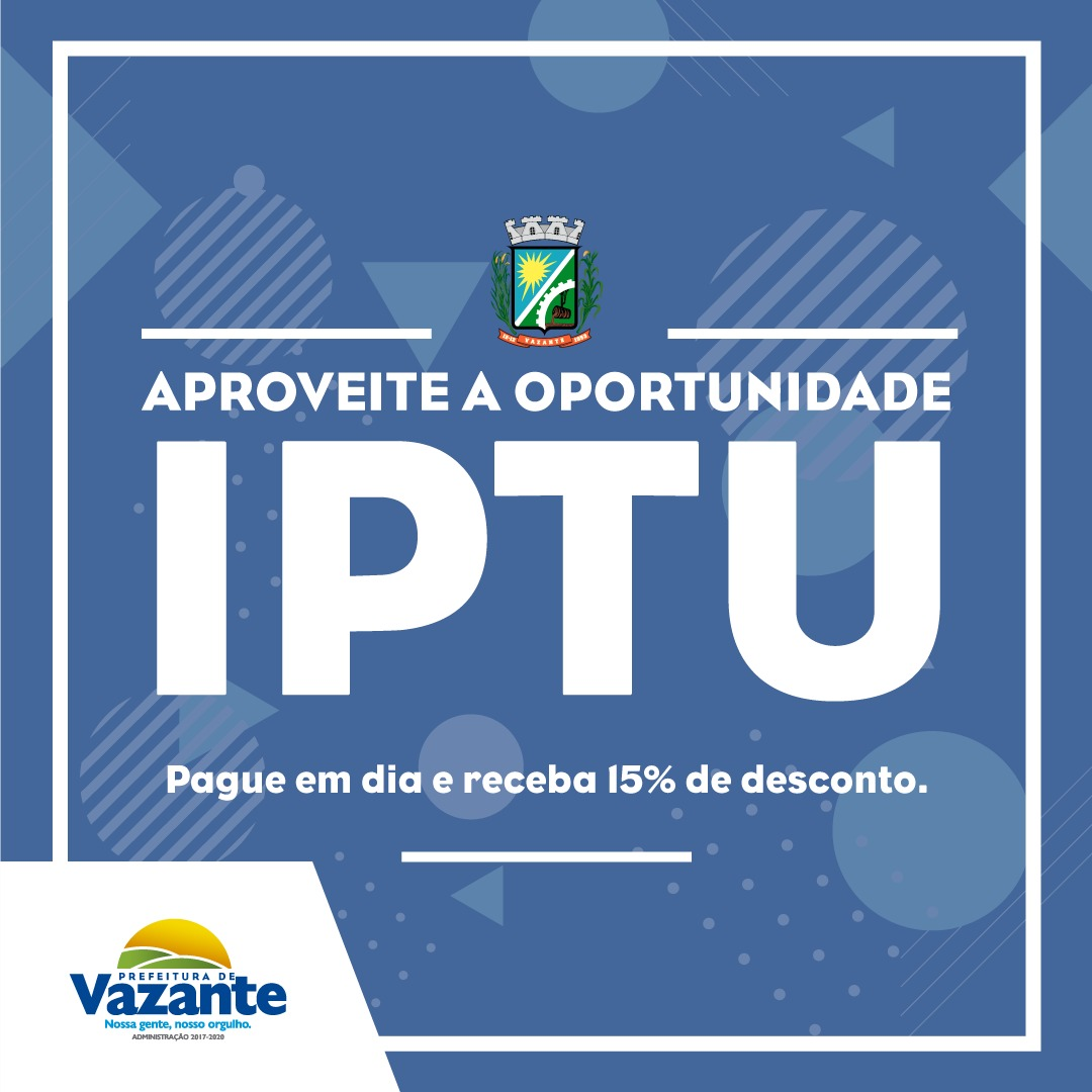 IPTU 2020 já está disponível para o contribuinte vazantino