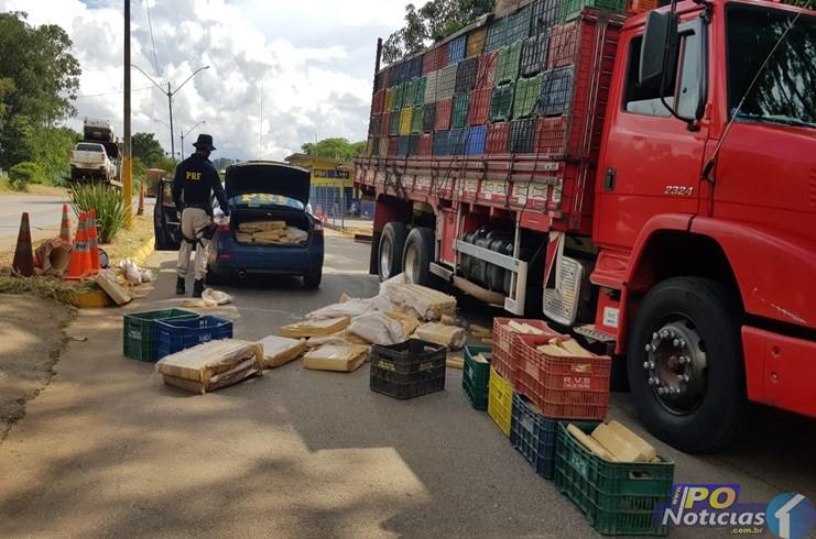 PRF aborda caminhão e prende dupla com carregamento de maconha em Patos de Minas