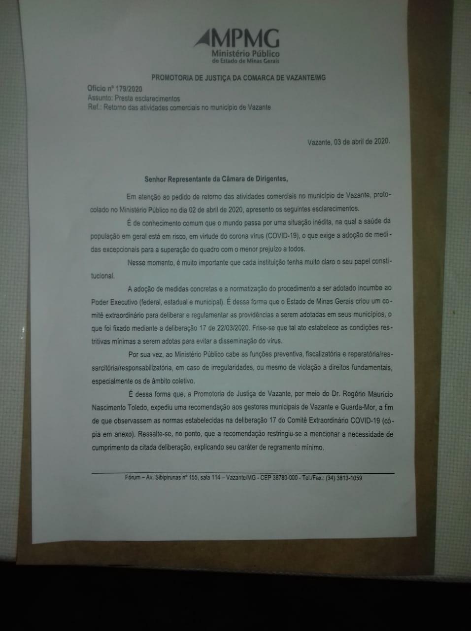 MP responde CDL sobre reabertura de comércio em Vazante