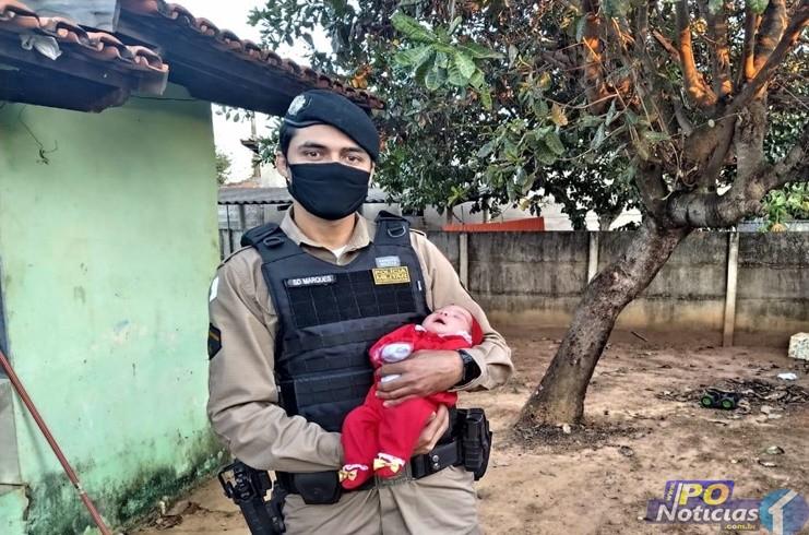 Soldado da Policial Militar de Lagoa Grande salva a vida de bebê que estava engasgada