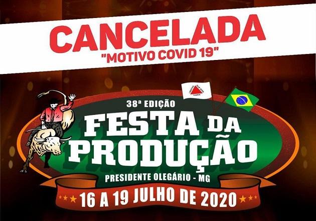 Festa da Produção de Presidente Olegário é adiada por causa de pandemia