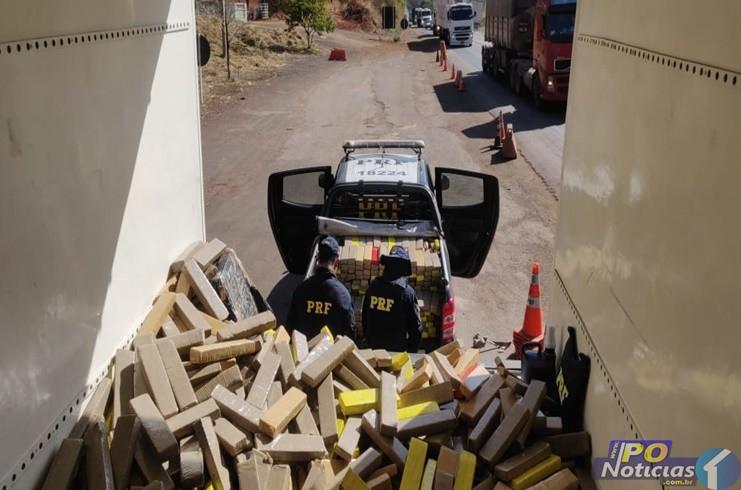 PRF apreende grande quantidade de droga em fundo falso de caminhão na BR-365