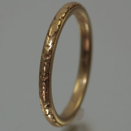 18K Engraved Orange Blossom Wedding Band