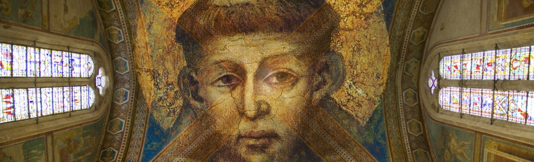 Portrait of St Francis adorning a chapel ceiling.