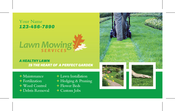 Grass Cutting And Lawn Maintenance Business Card Template | Designmore