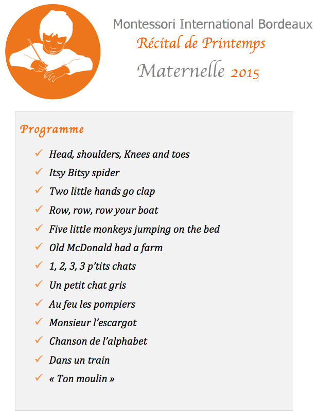 montessori international Bordeaux - programme récital de printemps