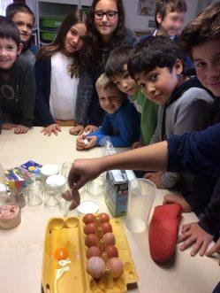 Montessori International Bordeaux : sciences, expérience en chimie. coquille d'oeuf ramollie par vinaigre
