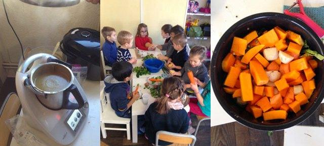 Atelier soupe à l'école Montessori