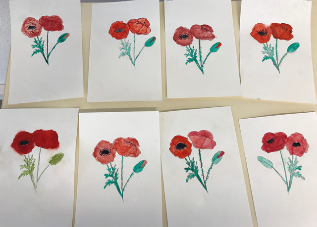 Montessori International Bordeaux - Gradignan - aquarelle coquelicots