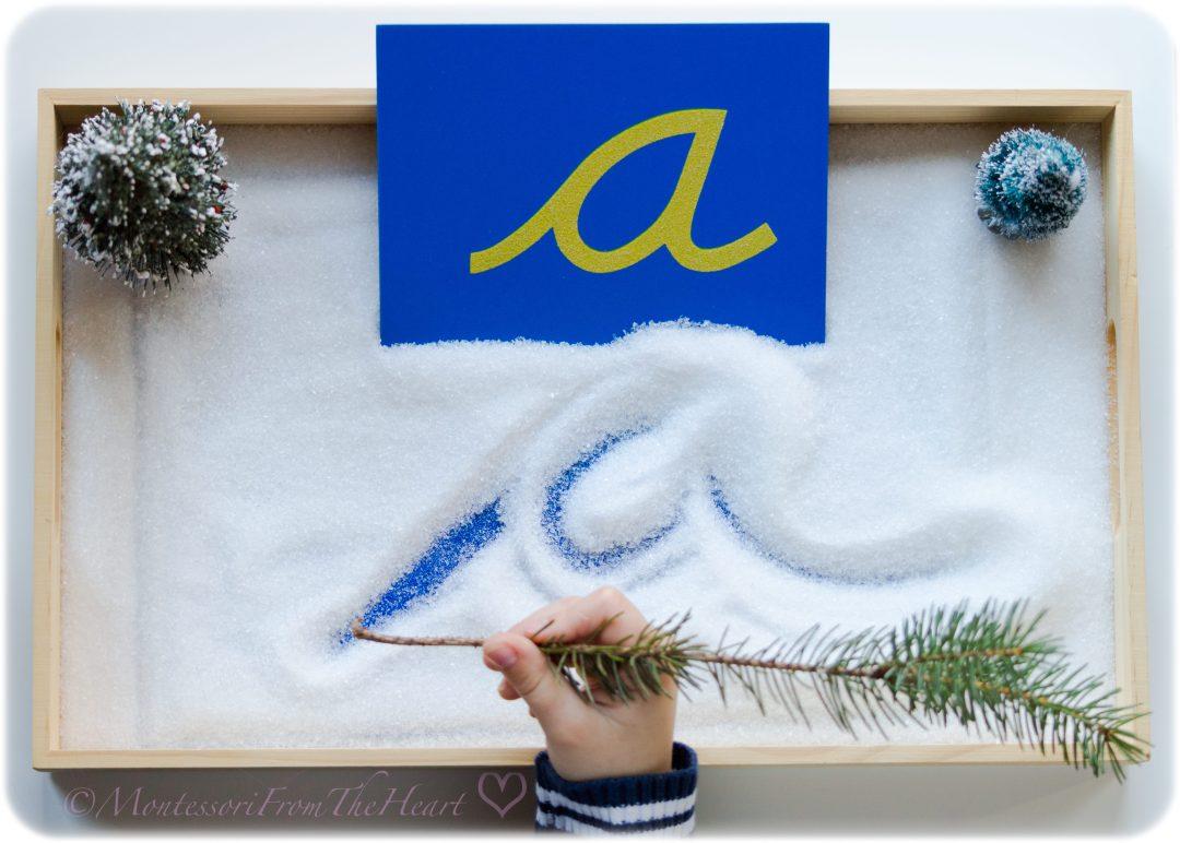 Montessori Winter Sensory Tracing Tray | Winter Kids Activities | Literacy