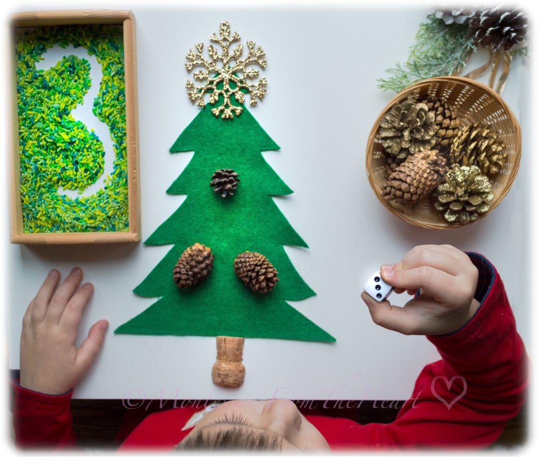 Pine Cone Counting Montessori Math Kids Winter Activity