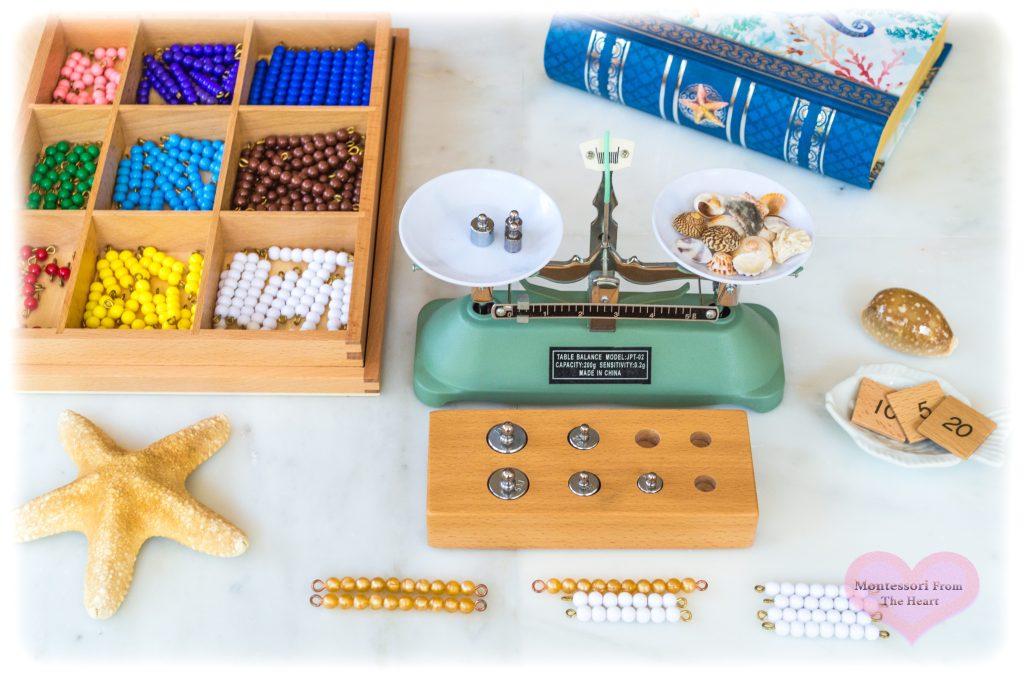 Seashells-Montessori-STEM-weighing-balance-scale.