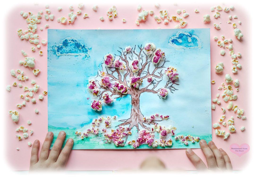 Cherry-Blossoms-Popcorn-3D-Spring-Kids-Craft