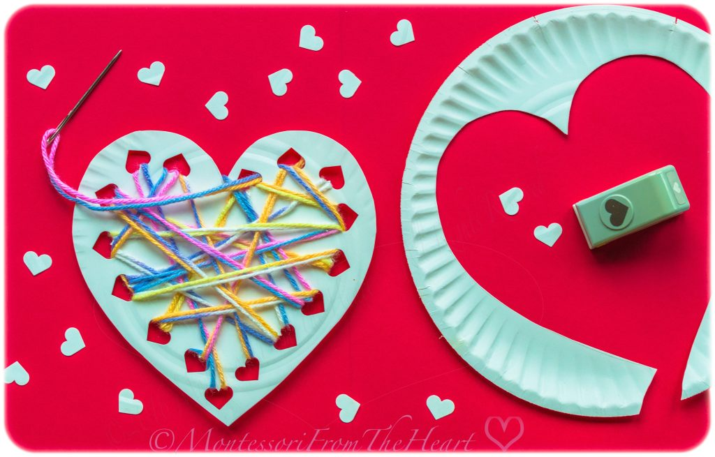 Paper Plate Heart Yarn Weaving