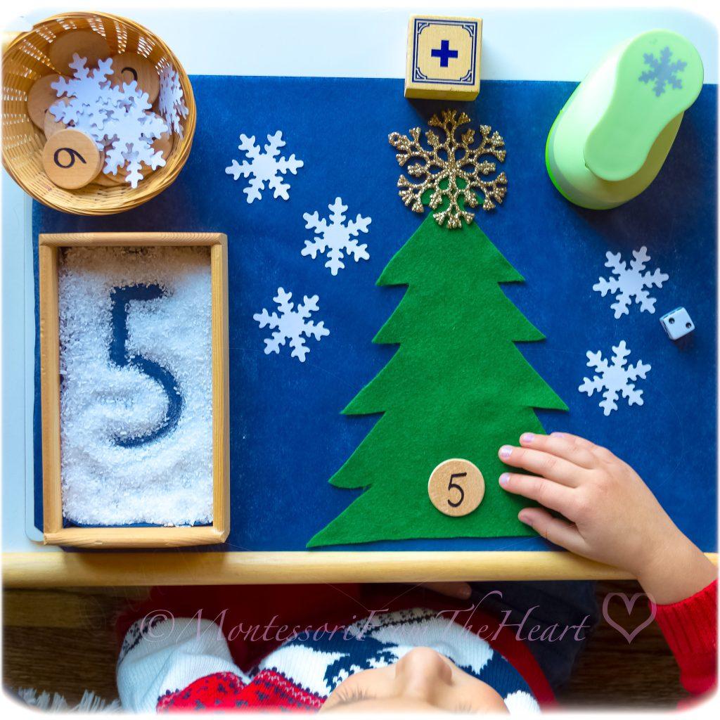 Snowflake-Addition-Preschool-Counting Montessori Math