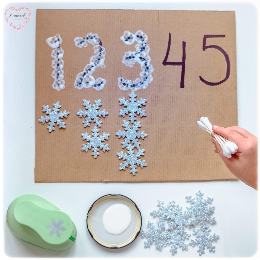 Snowflake-Q-Tip-painting Montessori Math Fine Motor