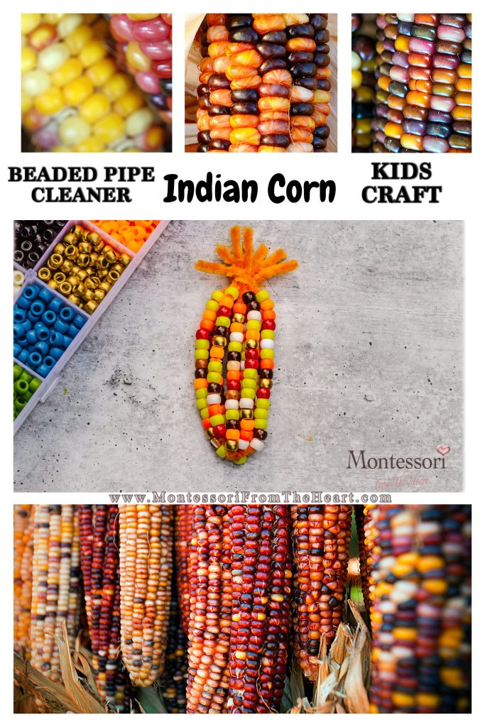 BEADED PIPE CLEANER INDIAN CORN KIDS CRAFT