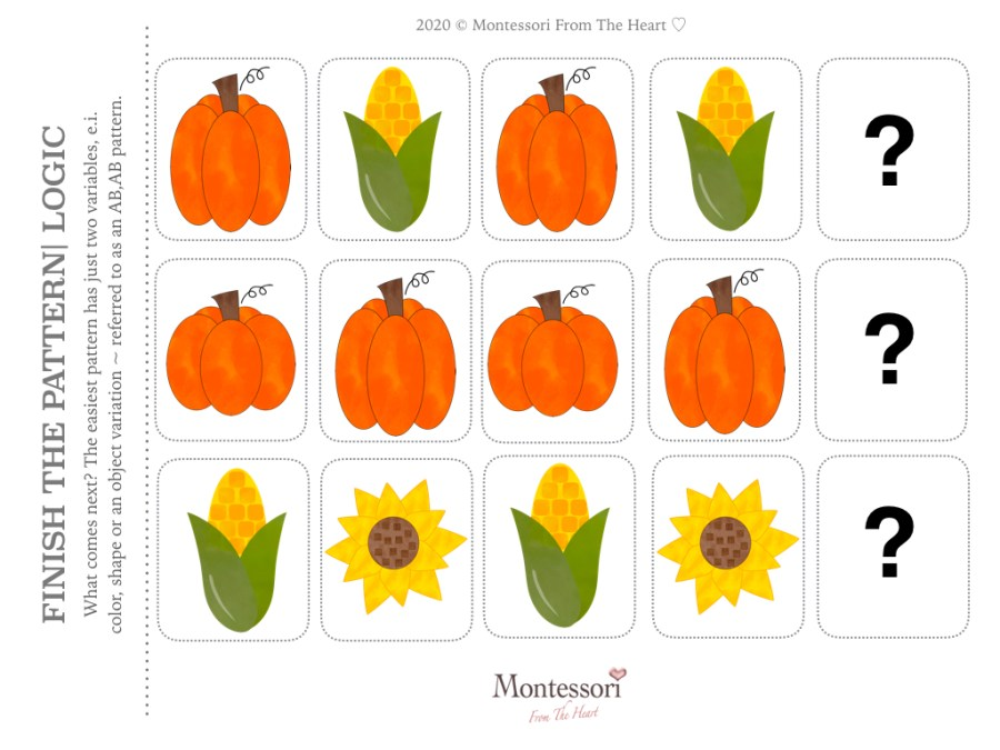 What is Next? AUTUMN PATTERN LOGIC THANKSGIVING Montessori KIDS ACTIVITY PACK