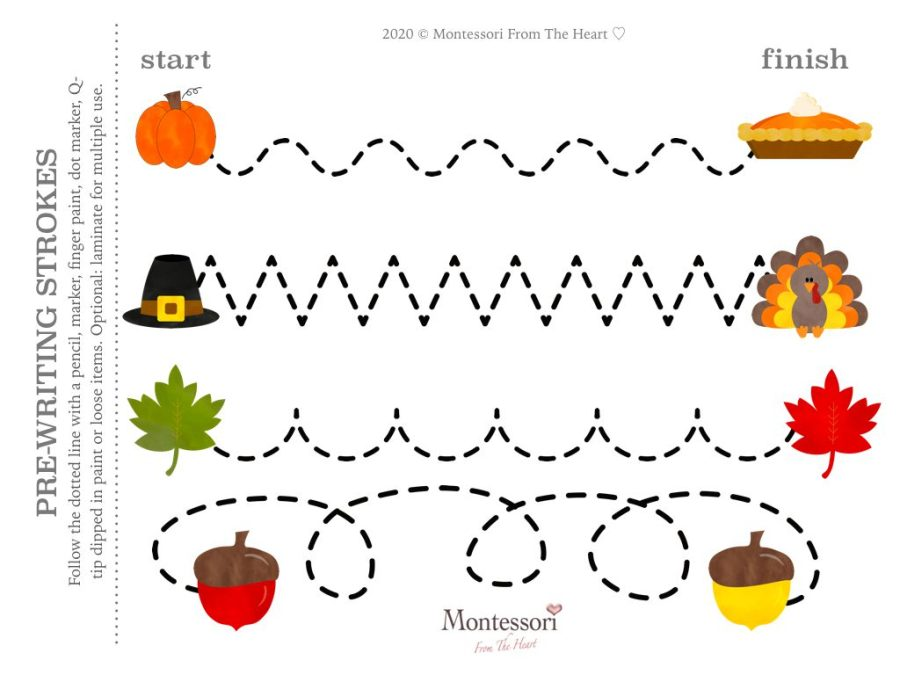 FOLLOW THE LINE| PRE-WRITING STROKES |LOGIC | THANKSGIVING Montessori KIDS ACTIVITY PACK