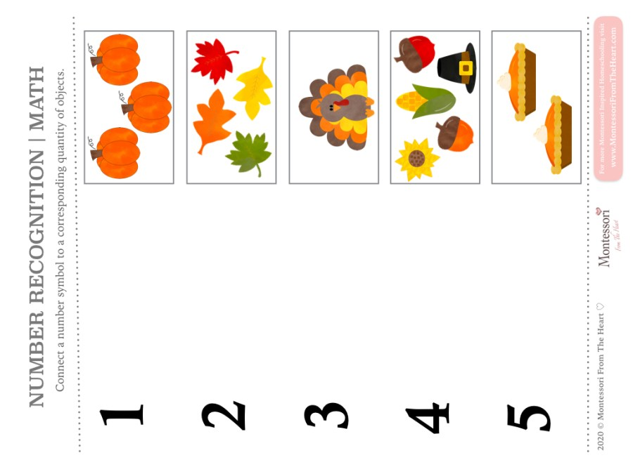 NUMERACY | NUMBER RECOGNITION and MATCHING | MATH | FINE MOTOR | THANKSGIVING Montessori KIDS ACTIVITY PACK