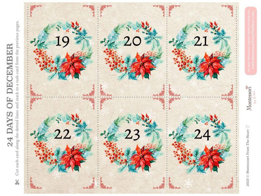 Christmas Advent Kids Pack 24 Day of December Kindness Prompts December 19-24