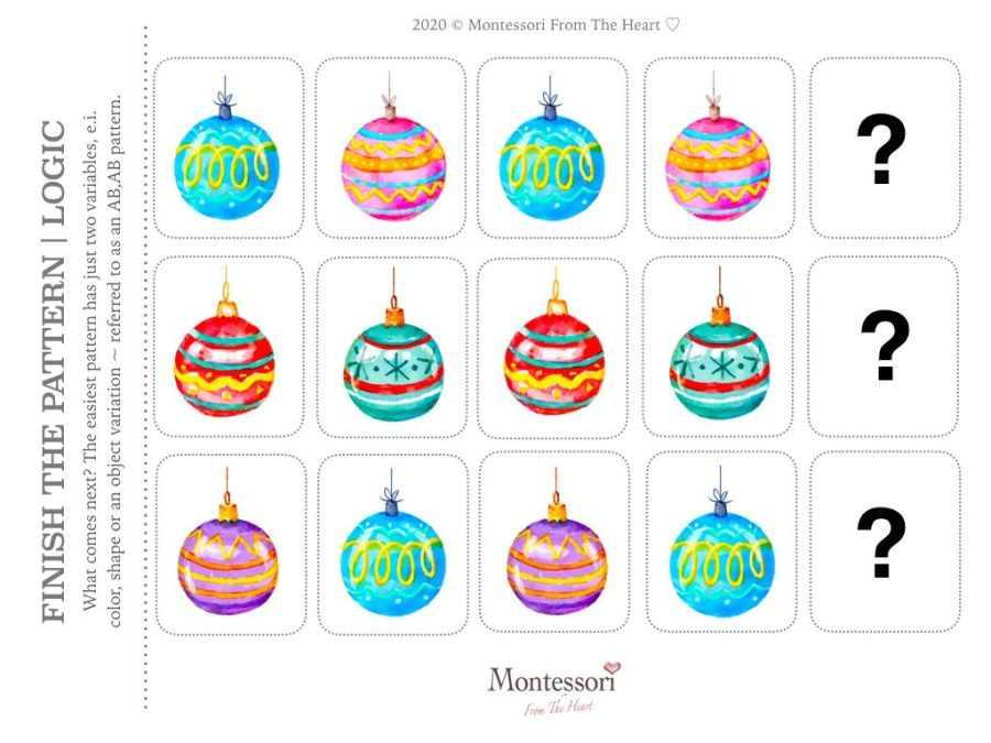 ORNAMENTS PATTERN RECOGNITION | LOGIC Christmas Montessori Kids Activity Pack