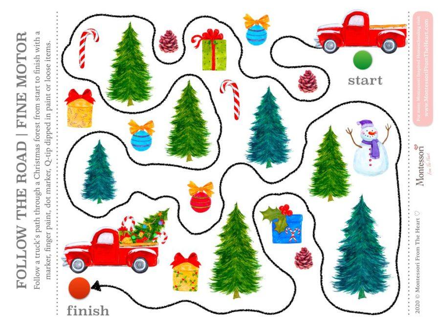 FOLLOW THE TRUCK PATH | FINE MOTOR Christmas Montessori Kids Activity Pack