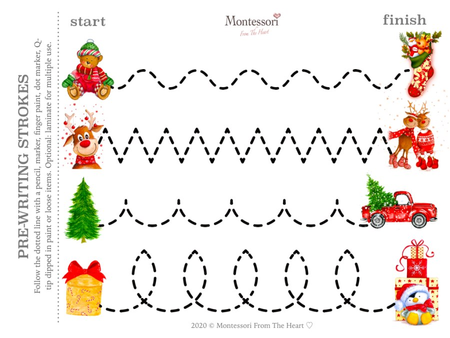 FOLLOW THE LINE | FINE MOTOR Christmas Montessori Kids Activity Pack