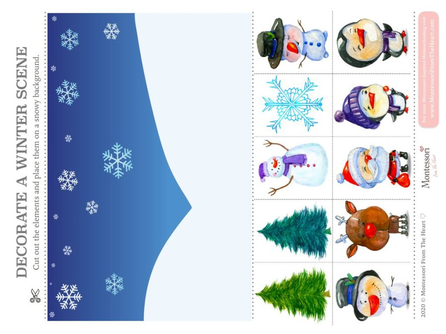 DECORATE THE WINTER SCENE | Hands on learning Montessori Christmas Pack