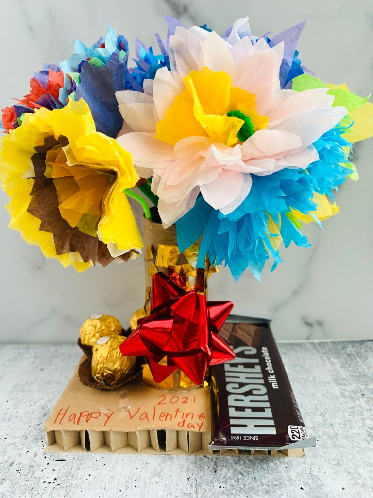 PAPER FLOWERS and candies Valentine Gift