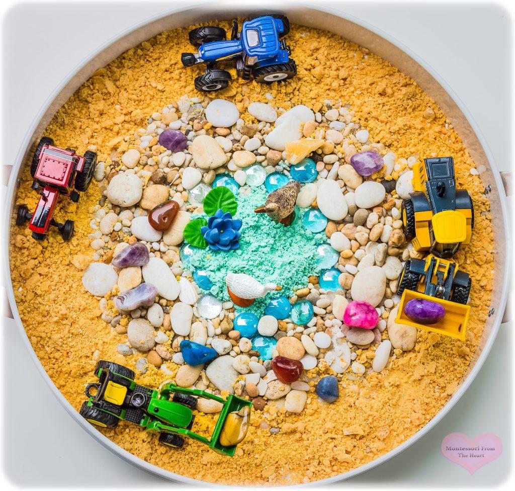 Cloud-Dough-Tractors-Rocks-Kmart-Sensory-Tray