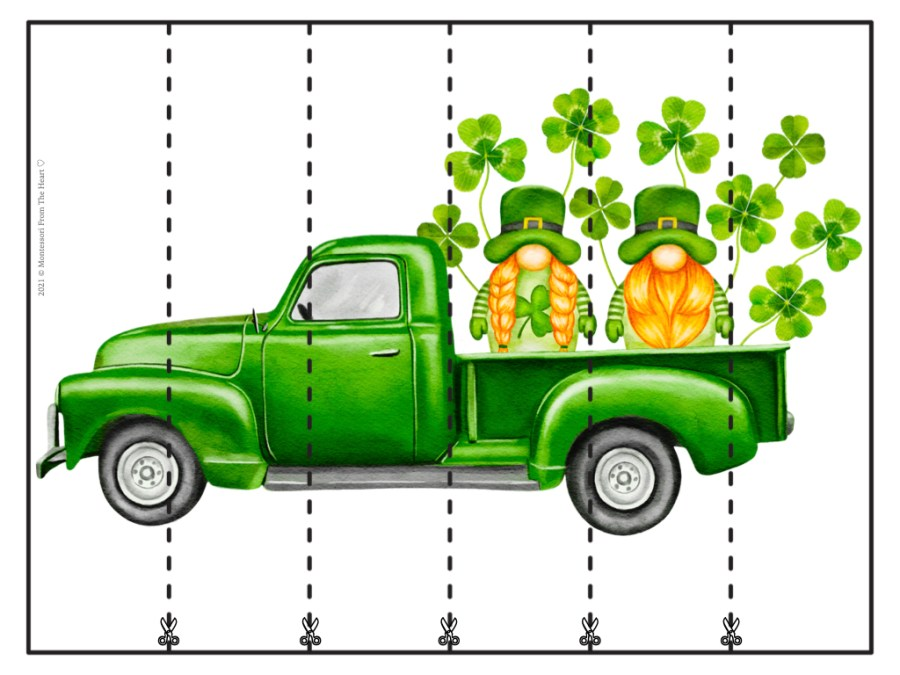 St. Patrick's Day STRIP PUZZLES FOR KIDS BLANK 6 STRIPS